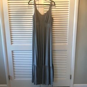 Gray Tiered Jersey Maxi Dress